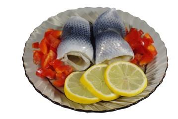 collared herrings on plate