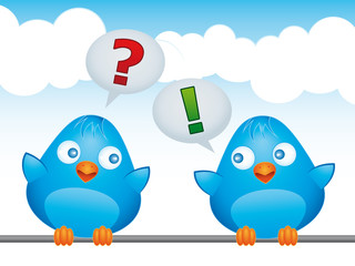 Two blue birds with FAQ balloons