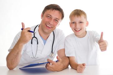 The boy in a doctors office