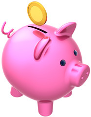 Piggy bank colored pink with a coin over it. Donate concept