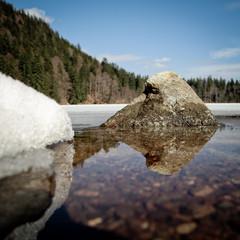 rock in lake in black forest