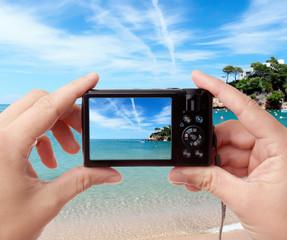 Taking photo of seaside