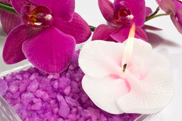Aroma candle, bath salt and orchid for aromatherapy