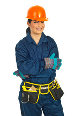 Cheerful builder woman