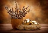 Fototapety Easter - Golden eggs in the nest
