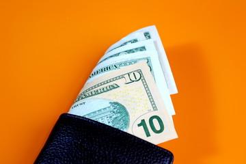 dollar bill black wallet