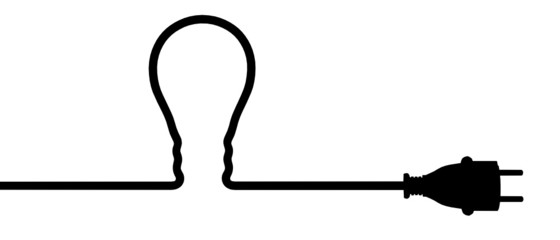 Power plug - light bulb silhouette