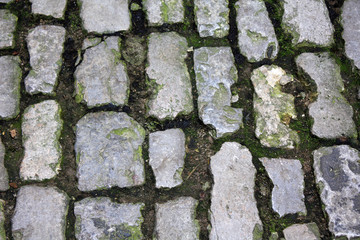Close-up of an old medievel stone road.