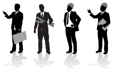 business people on a construction site
