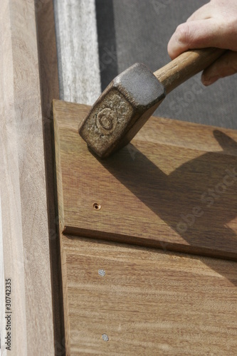 part of a wooden house in construction