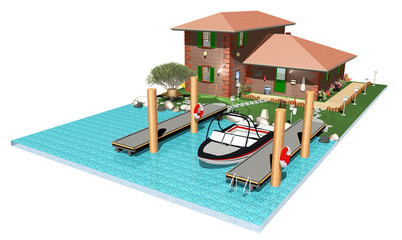 Casa con Molo e Imbarcazione-House with Little Marina-3D