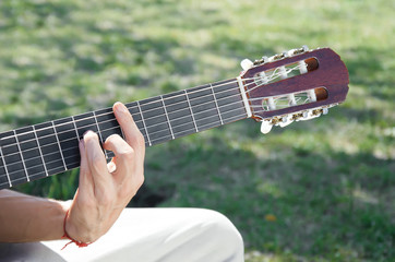 playing the gitar