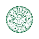 Earth day grunge rubber stamp poster