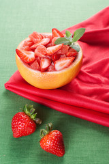 Fruit salad with strawberry and grapefruit