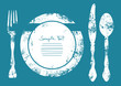 Cutlery With Plate Blue