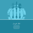 Dinner Card Cutlery With Plate Blue