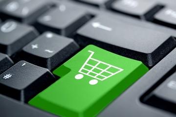 Online-Shop grüne Taste