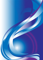 Blue and violet wave on blue background.Banner.