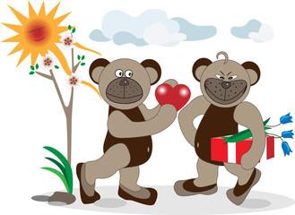 Bear is a declaration of love. Illustration.