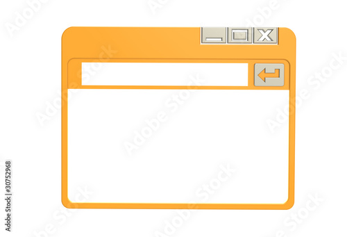 Internet Browser Window, simplified. Orange isolated on white