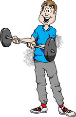 Cartoon illustration of a man doing barbell curls.