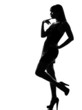 stylish silhouette woman pensive thinking