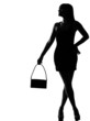 stylish silhouette woman waiting holding purse