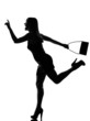 stylish silhouette woman running hailing hurrying
