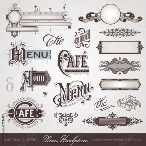 menu headpieces, panels and ornate design elements