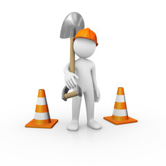 Construction worker with a shovel and traffic cones