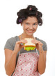Beautiful cooking woman eat sandwich