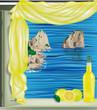 finestra su Capri con limoncello