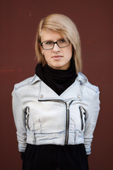 real young woman with glasses