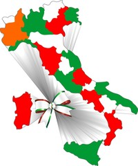 Italia Tricolore-150° con Fiocco-Italy with Flag Bow-2-Vector