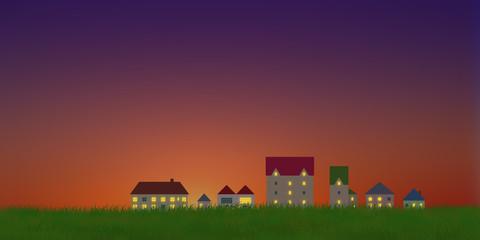 夕暮れの町