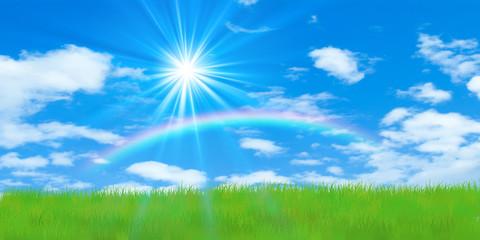 草原と虹と光