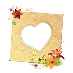 Frame background with heart shape and flowers