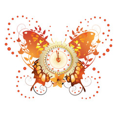 Clock design with Valentine's day theme over butterfly