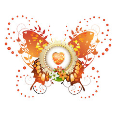 Heart and frame with flowers and decorative butterfly