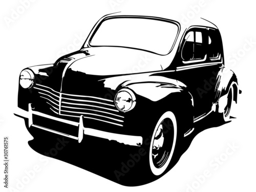 oldtimer car silhouette vector illustration