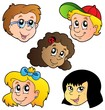 Various children faces collection