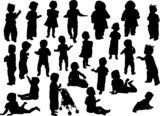 Fototapety large set of baby silhouettes