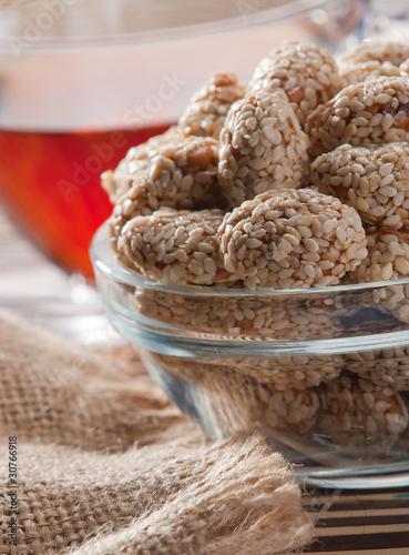Almonds in sugar and sesame