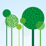 Background with green trees made from  leaves, vector