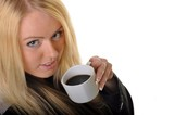 blonde woman and coffe