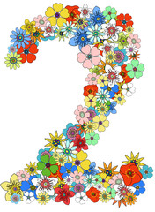Number two floral, vector