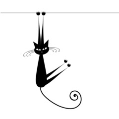 Funny cat silhouette black for your design
