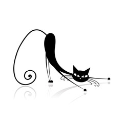 Graceful black cat silhouette for your design
