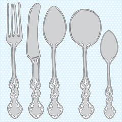 Hand drawn cutlery set