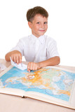 cute schoolboy studying geography poster